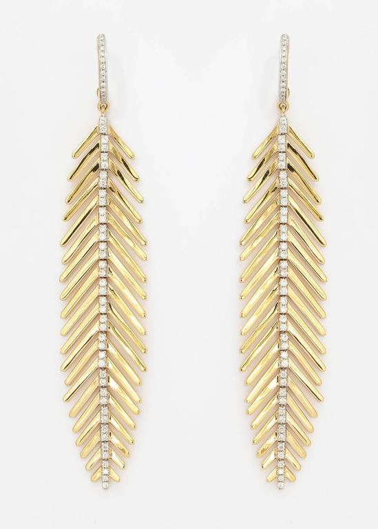 18k Yellow Gold And Diamond Spine Articulated Feather Design Earrings Containing 110 Full Cut Diamonds Weighing
