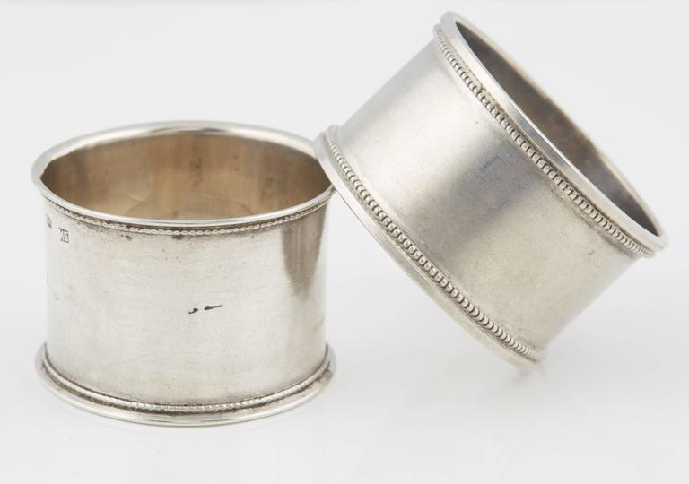 Women's or Men's Two Russian Silver His and Hers Napkin Rings, circa 1908 For Sale