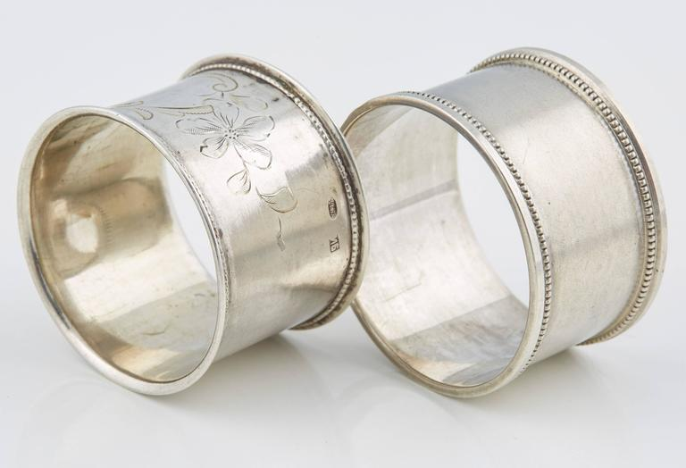 Two Russian Silver His and Hers Napkin Rings, circa 1908 For Sale 1