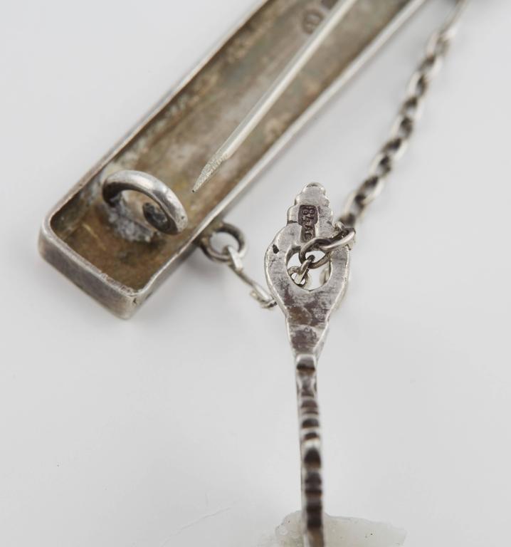 Russian Silver Enamel Pin Suspending an Old Believers Cross 3