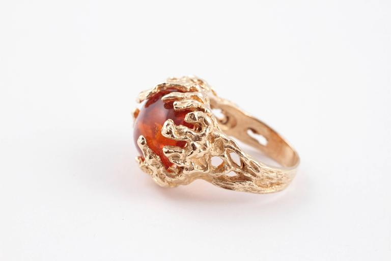 Large Baltic Amber Yellow Gold Ring For Sale At 1stdibs