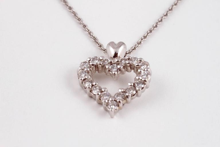 Diamond Heart Pendant Platinum For Sale 1