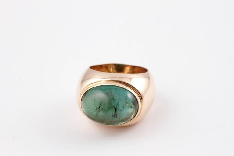 Cabochon Green Tourmaline Yellow Gold Ring For Sale