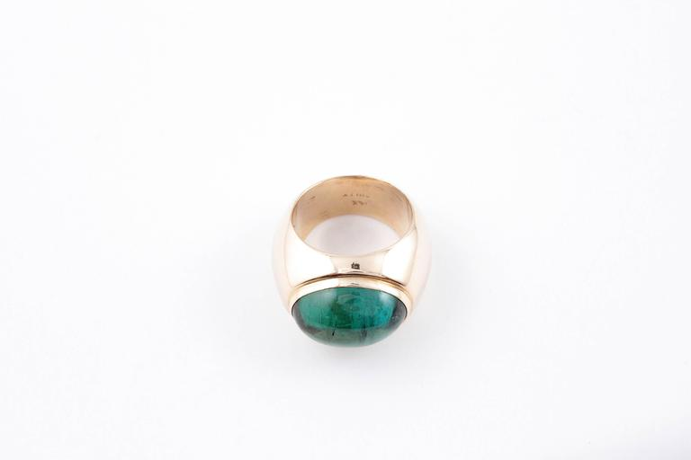 Green Tourmaline Yellow Gold Ring For Sale 1
