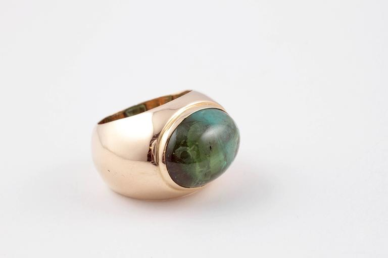 Green Tourmaline Yellow Gold Ring For Sale 2
