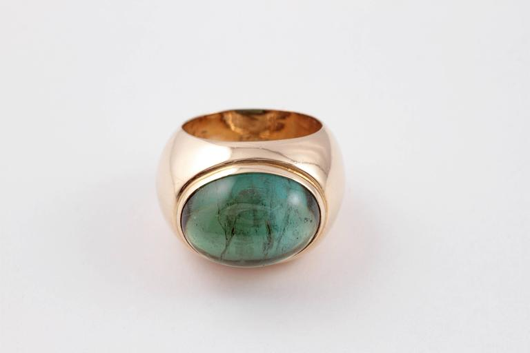 Green Tourmaline Yellow Gold Ring For Sale 3