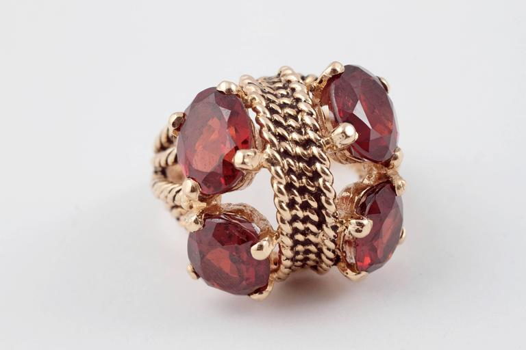 Garnet Yellow Gold Ring In Excellent Condition In Dallas, TX
