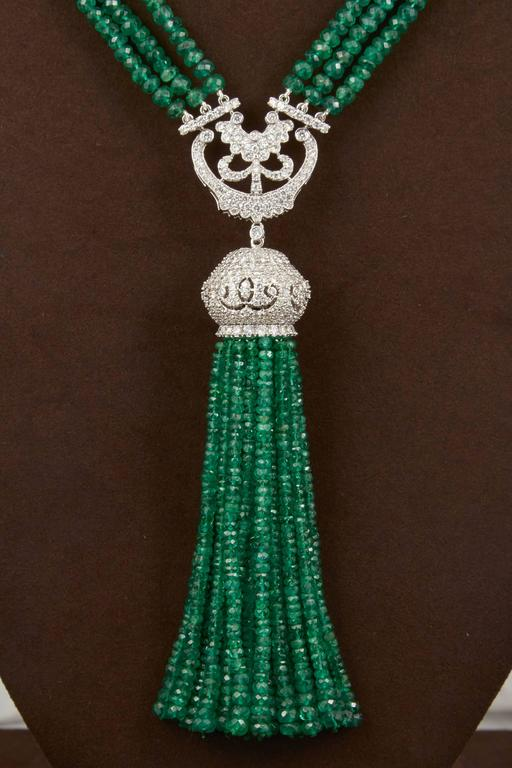 Unique Green Emerald and Diamond Tassel Necklace In As New Condition For Sale In New York, NY