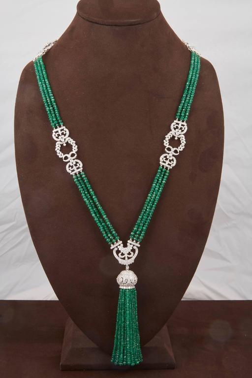 Unique Green Emerald and Diamond Tassel Necklace For Sale 2