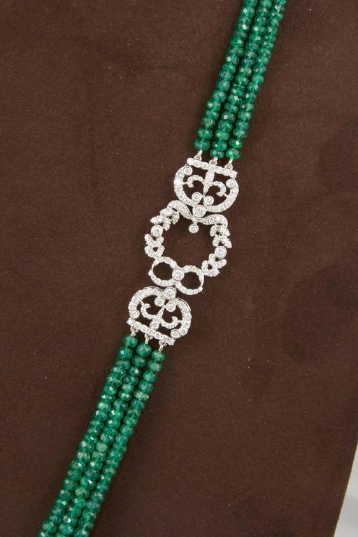 Unique Green Emerald and Diamond Tassel Necklace For Sale 3