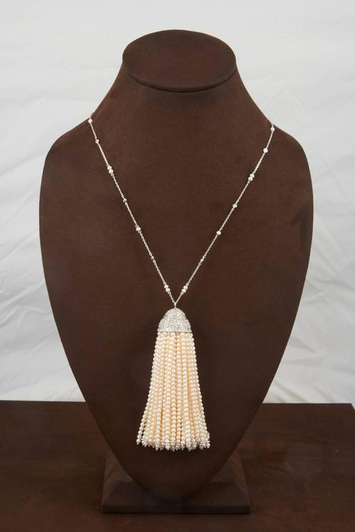 Important Pearl and Diamond Tassel Necklace In New Condition For Sale In New York, NY