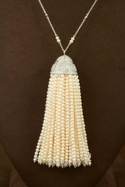 Women's Important Pearl and Diamond Tassel Necklace For Sale