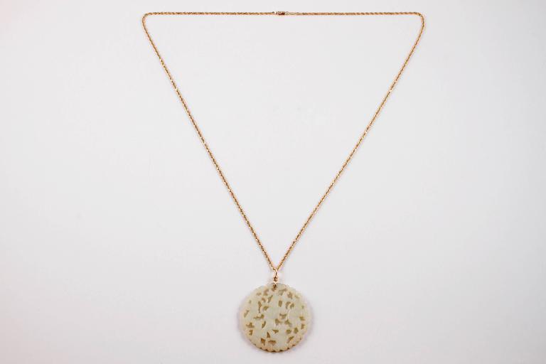 Carved Nephrite Jade Necklace in 14 Karat Gold 2