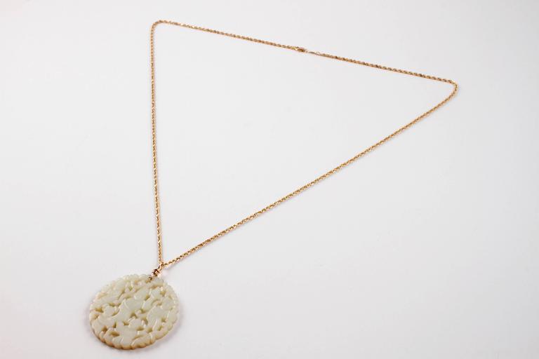Carved Nephrite Jade Necklace in 14 Karat Gold 3