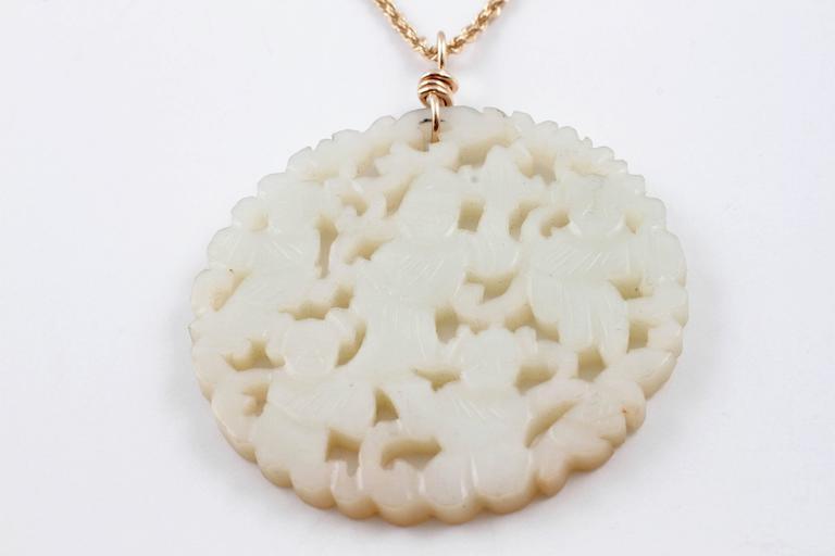 Carved Nephrite Jade Necklace in 14 Karat Gold 5