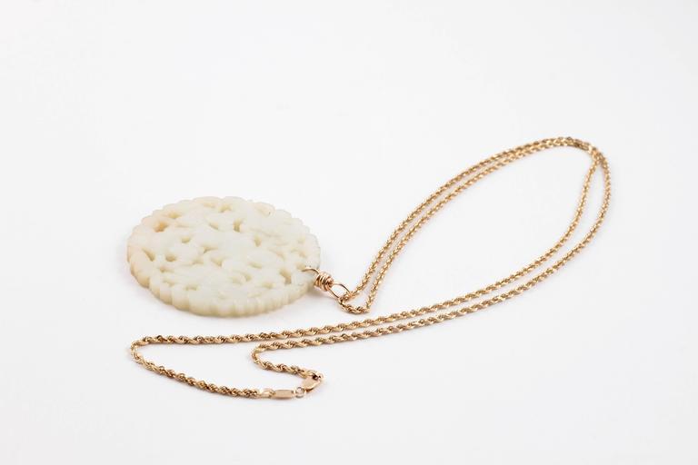 Carved Nephrite Jade Necklace in 14 Karat Gold 8