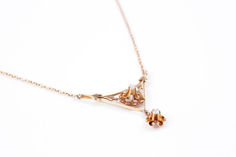 Women's Diamond Lavalier Yellow Gold Necklace, circa 1930 For Sale