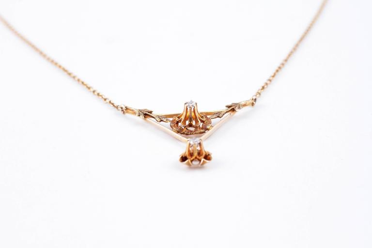 Diamond Lavalier Yellow Gold Necklace, circa 1930 For Sale 1