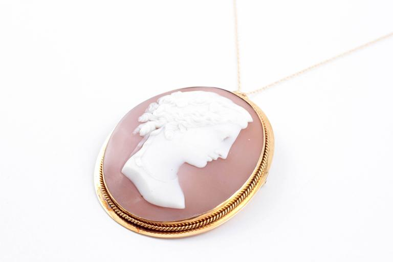 Shell Cameo Brooch Pendant on Yellow Gold Filled Chain In Excellent Condition For Sale In Dallas, TX