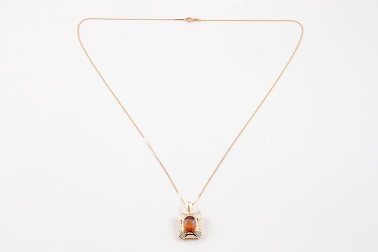4.70 Carat Citrine Diamond Yellow Gold Necklace For Sale 1