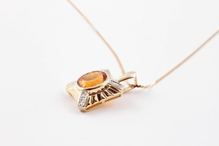 4.70 Carat Citrine Diamond Yellow Gold Necklace For Sale 3