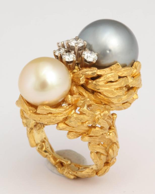 Gilbert Albert South Sea Pearl Diamond Gold Modernist Ring 2