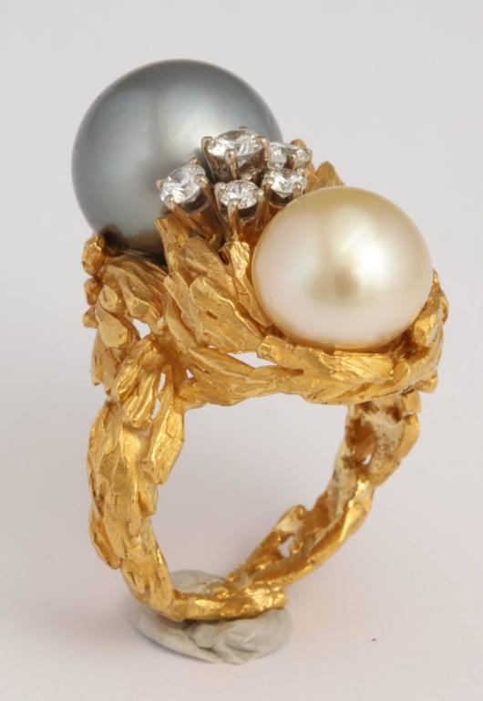 Gilbert Albert South Sea Pearl Diamond Gold Modernist Ring 7