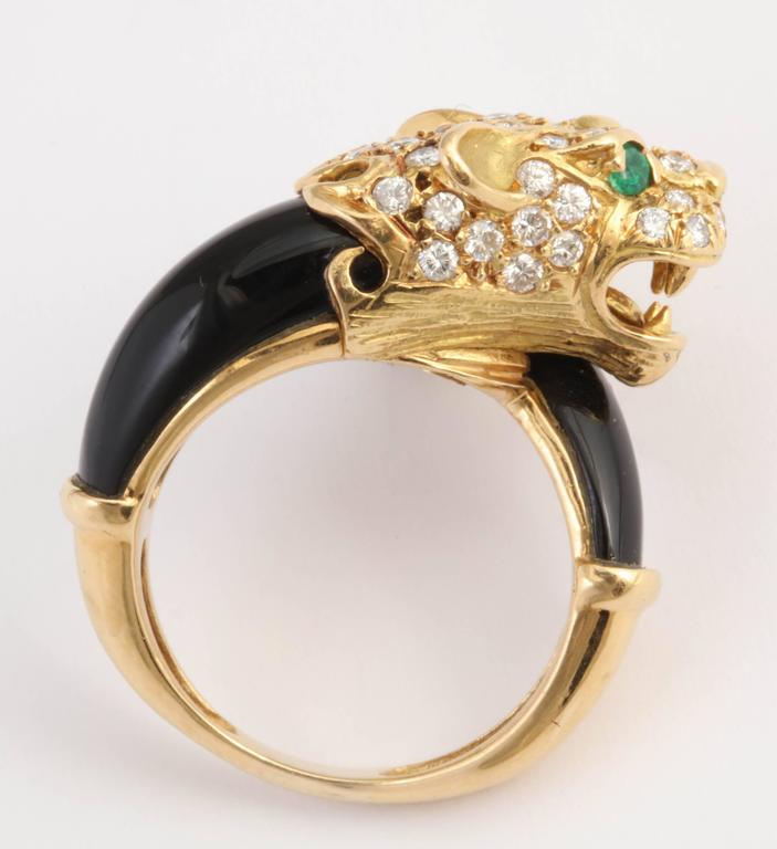 Contemporary Black Onyx Gold and Diamond Lion Ring For Sale