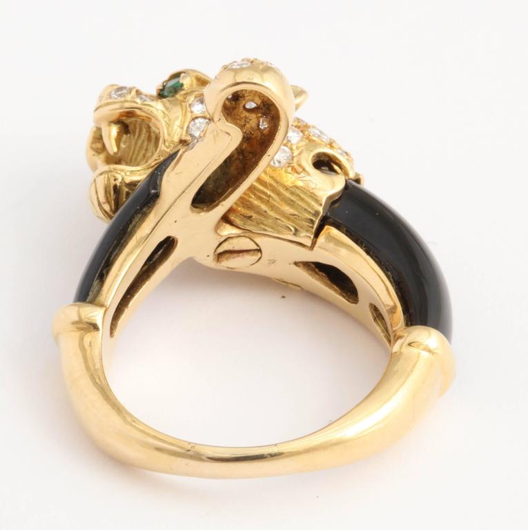 Women's Black Onyx Gold and Diamond Lion Ring For Sale