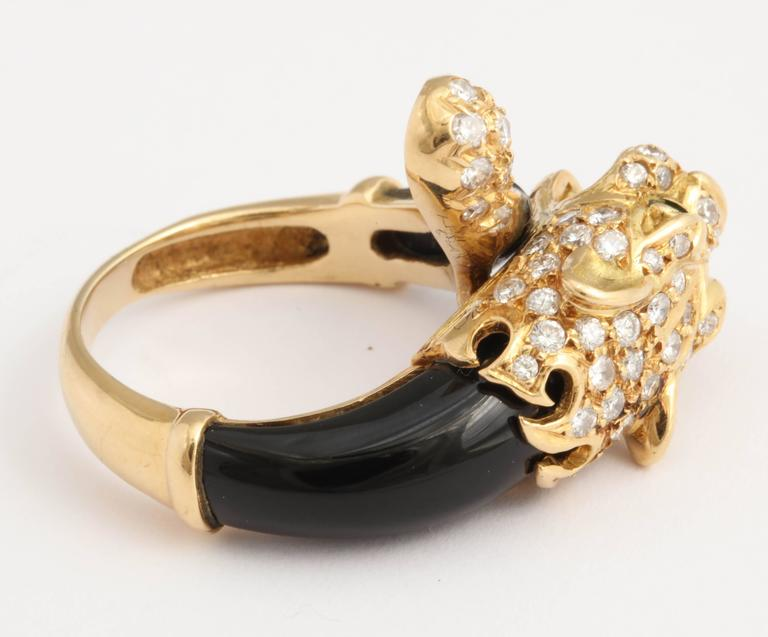 Black Onyx Gold and Diamond Lion Ring For Sale 1