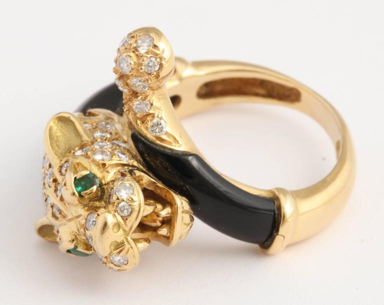 Black Onyx Gold and Diamond Lion Ring For Sale 2