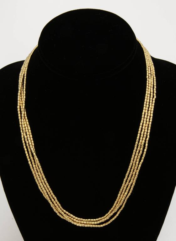 1980s Multi Strand Long Lariat Style Gold Pellets Bead Chain Necklace 2