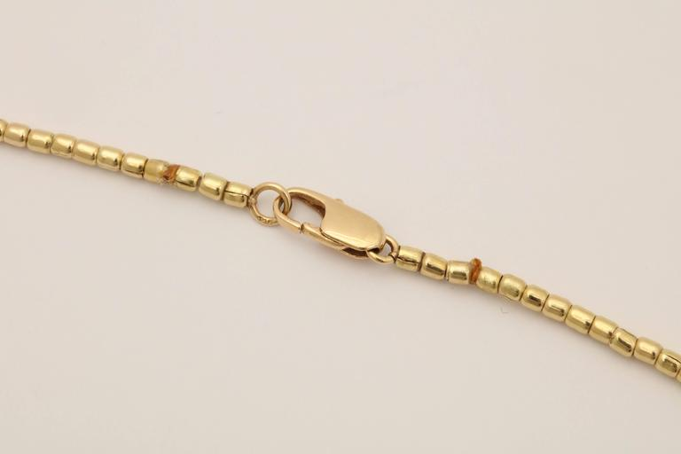 1980s Multi Strand Long Lariat Style Gold Pellets Bead Chain Necklace 4