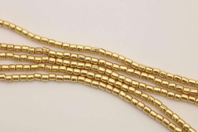 1980s Multi Strand Long Lariat Style Gold Pellets Bead Chain Necklace 5
