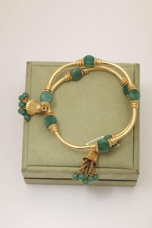 1970s Green Aventurine Gold Tassel Wrap Around Bracelet 2