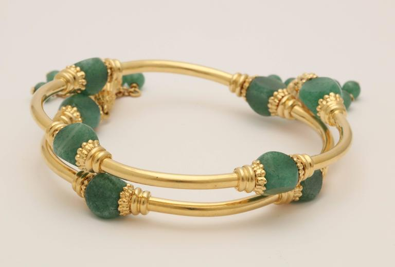 1970s Green Aventurine Gold Tassel Wrap Around Bracelet 4