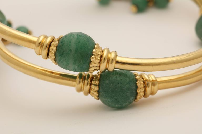 1970s Green Aventurine Gold Tassel Wrap Around Bracelet 5