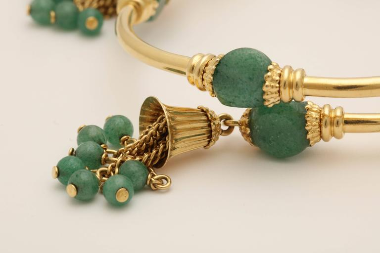 1970s Green Aventurine Gold Tassel Wrap Around Bracelet 6
