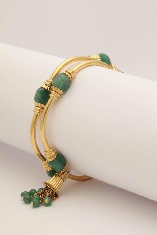 1970s Green Aventurine Gold Tassel Wrap Around Bracelet 7