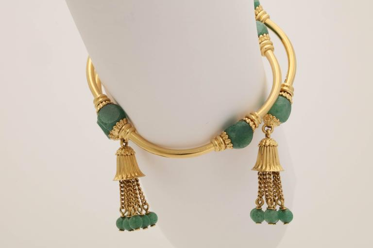 1970s Green Aventurine Gold Tassel Wrap Around Bracelet 8