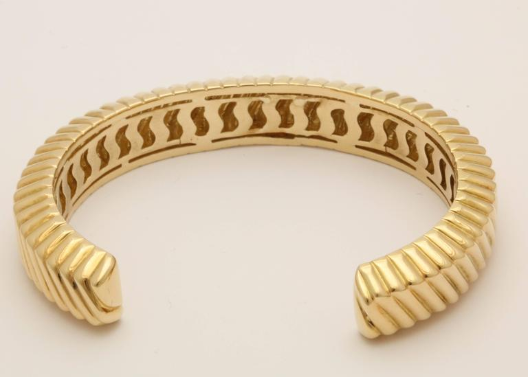Tiffany And Co Ridged Textured Open Back Gold Bangle Cuff