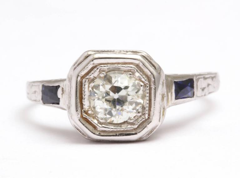 Diamond Engagement Ring with Sapphire Accents For Sale at 1stdibs