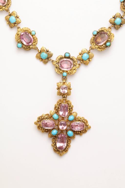 Extraordinary Pink Topaz Turquoise Georgian Pendant Necklace 3