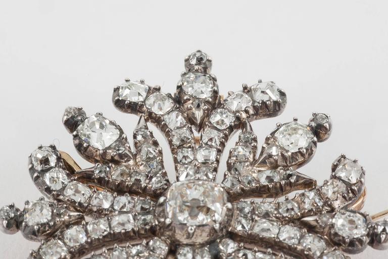 Georgian Regency  Cushion Cut Diamond Cruciform Brooch 2