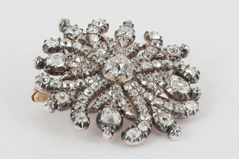 George III Georgian Regency  Cushion Cut Diamond Cruciform Brooch For Sale