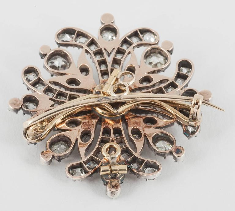 Georgian Regency  Cushion Cut Diamond Cruciform Brooch 5
