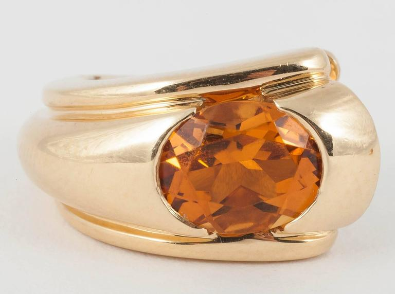 Boucheron of Paris Citrine Gold Creole Shaped Earrings,French c,1950 2