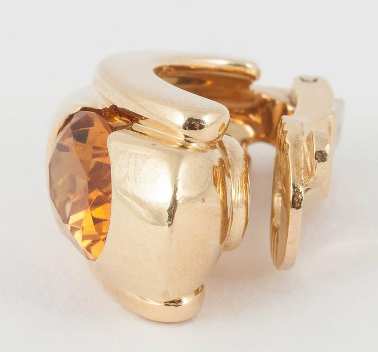 1980s Boucheron Paris Citrine Gold Creole Shaped Earrings 3
