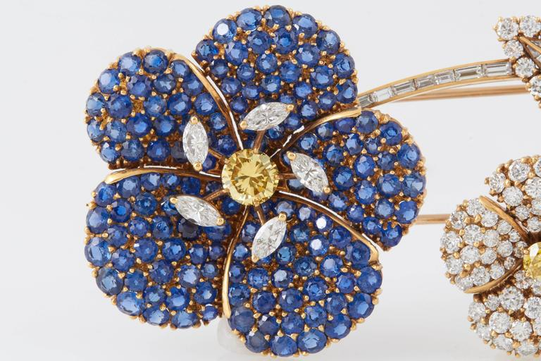 Cartier Sapphire Diamond Flower Brooch In Excellent Condition For Sale In New York, NY