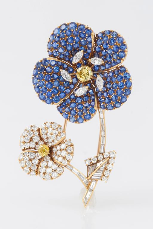 Cartier Sapphire Diamond Flower Brooch For Sale 1